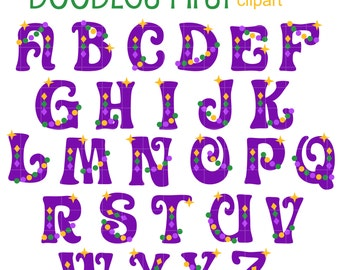 Mardi Gras Alphabet Clip Art for Scrapbooking Card Making Cupcake Toppers Paper Crafts