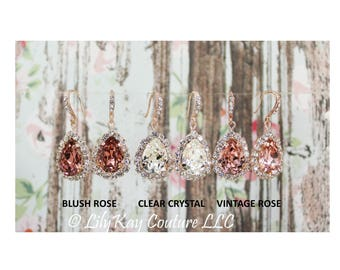 Rose Gold Earring Blush Bridal Jewelry Rose Gold Bridesmaid Jewelry Blush Rose Gold Bridal Jewelry Vintage Pink Bridal Earrings Rose Gold