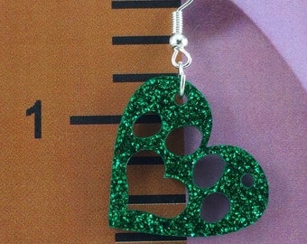 Paw Print in Heart Earrings - Hypoallergenic - Choose your favorite colors