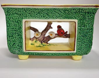 Vintage hand painted porcelain bird planter
