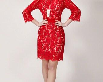 V Back Red Lace Dress - Lace Sheath Dress with V Back - Lace Prom Dress - Short Prom Dress -Lace Mini Dress - Backless Lace Dress B421