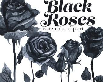 Black Roses Watercolor Clipart, Gothic Romance Clip Art