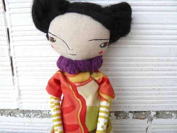 Art doll in mohair and silk hair. 32 cm.