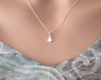 Sterling Silver Tiny Club Suit Charm Necklace, Minimalist Club Suit Necklace, Small Club Card Player Charm Necklace, Tiny Club Card Necklace