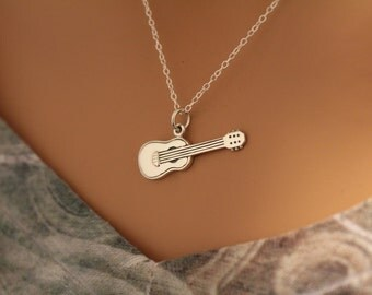 Sterling Silver Guitar Charm Necklace, Silver Guitar Necklace, Guitar Necklace, Electric Guitar Necklace, Musician Necklace, Rock n Roll