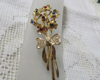 vintage 1960's multi colored rhinestone flower bouquet  brooch pin with crystal rhinestone bow gold plated