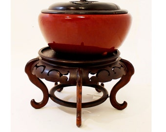 Mid Century Modern Asian Sang de Boeuf Ginger Jar and Stand