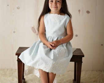 Blue Linen and Lace Flower Girl Dress, Birthday Dress, Special Occasion Lace Dress ,Size 5 Ready to Ship!