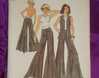 1970s 70s Vintage Bombshell Halter Top Wide Leg Pants w Side n Center Seams n Vest UNCUT Simplicity Pattern 5611 Bust 31.5 Inches 80 Metric