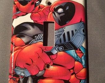 Deadpool Comic Book decoupage light switch cover