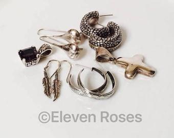 Lot of 6 925 Sterling Silver Earrings Hoop Hook Post For Pierced Ears Pendants