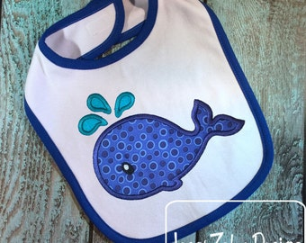 Whale Appliqué embroidery Design - whale appliqué design - beach appliqué design - nautical appliqué design - ocean appliqué embroidery