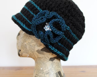 Black Crocheted Cloche with Teal Sparkle Stripes and Flower