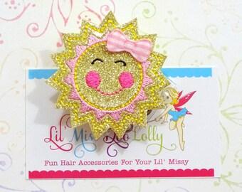 Sunshine ID Badge Reel-Sun ID Badge-Glitter Badge Holder-Sun Badge Reel -Retractable ID Badge Holder- Badge Reel Clip (Set of 1)