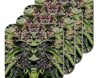 Cannabis Coasters: Four Pack Marijuana Coasters in Purple Goo Marijuana Print, Coasters, Table Coasters, Ganja Coasters- MADE TO ORDER