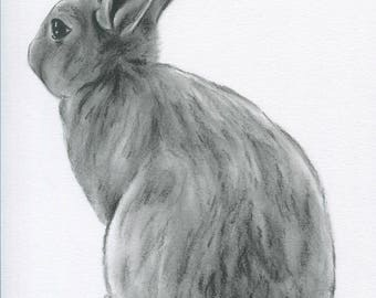 "Bunny Art, ORIGINAL Charcoal 8""x10"" Rabbit Drawing, Bunny Sketch, Easter Art, Nursery Art, Rabbit Art, Bunny Drawing, Rabbit Sketch"