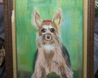 Vintage Yorkie Yorkshire Terrier Dog Painting on Canvas Artist Signed Original