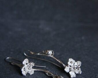 Cherry blossom earrings, sakura earrings, sterling silver earrings, flower earrings, wedding earrings, cherry blossom jewelry, mismatched