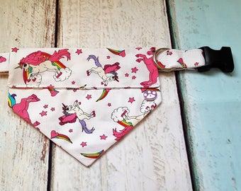 Dog Collar/Unicorn Dog Collar/ Unicorn Dog Bandana/Slide on Bandana/Hand made in the UK