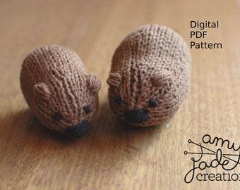 Wombat Knitting Pattern - Little Wombat / Digital PDF Download / Australian Animals / Australian Wombat / Easy Knitting Pattern / Beginners