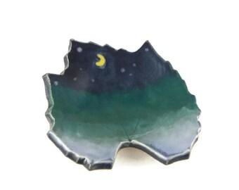 Grape Leaf dish - pottery - night sky leaf - starry night - ring dish - spoon rest - fall leaf - decor - space decor - stargazer dish