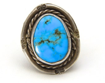 Vintage Sterling Silver Twisted Rope Starburst Detail Turquoise Ring Size 4.25