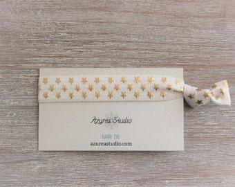 White Gold Stars Hair Tie