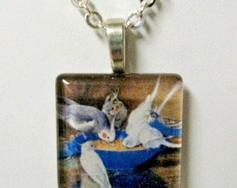 Blue and white parakeets pendant and chain - BGP01-008