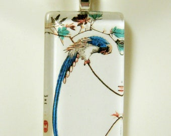 Long Tailed Blue Bird glass pendant - BGP02-064