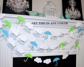 Umbrella baby shower decorations, cloud and umbrella, sprinkle decor, Baby Sprinkle Decorations , umbrella garland , Nursery decor