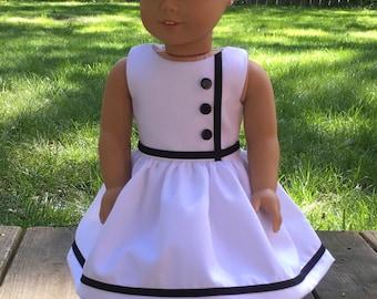 "18"" doll vintage inspired white dress with black trim"