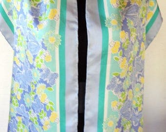 Vintage Silk Scarf 80s Lilly Pulitzer Floral in Blue and Green Pastels Long and Wide Excellent Condition and Quality
