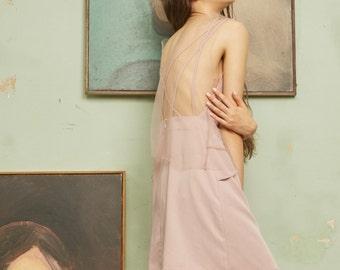 La Chic Parisienne Collection smokey pink/black soft yarn sexy V neck backless dress