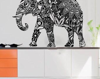 Wall Decals Elephant Floral Yoga India Buddha Decal Vinyl Sticker Bedroom Home Decor Art Murals Ms687