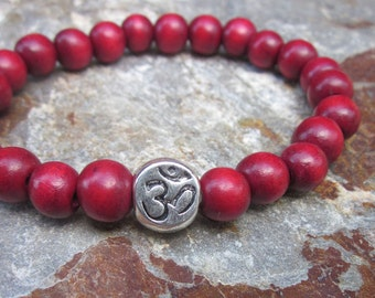 wood bead OM bracelet wooden beads yoga bracelet bohemian bracelet yoga accessories mens bracelet women's stretch bracelet