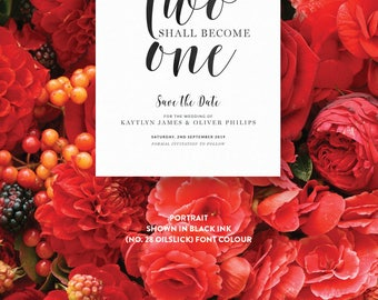 Wedding Save The Date Card Invite Single-Sided Printed Diy Printable Digital File Only — The Kaytlyn Collection  — Quote No.03
