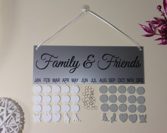 Birthday Board. Reminder for your friends and families birthdays. Silver Metalic sign.