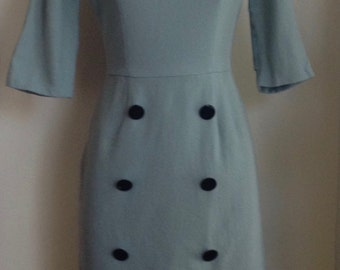 1960's Bateau Neckline Pale Blue Wool Dress with 3/4 Sleeves