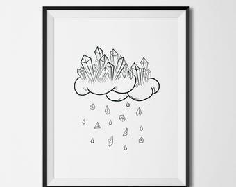 Minimalist wall art print, cloud wall art print, black and white art print, illustration print, office decor, cloud wall decor print, gift