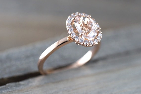 14k Rose Gold Oval Morganite Peach Champagne Beige Diamond