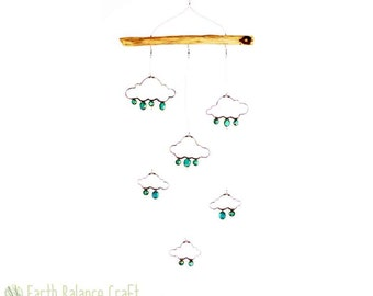 Hanging Mobile, Wire Rain Cloud, Whimsical Art, Nursery Mobile, Weather Decoration, Baby Mobiles Hanging, Teal Rain Drops, Cloud Cot Mobile