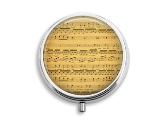 Sheet Music Pill Box  Stocking Stuffers for Music Lovers, Pill Travel Case, Vitamin Container