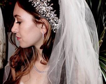 crystal hair vine, bridal hair clip, wedding hair vine, wedding side comb, crystal spray, bridal crystal spray, wedding headpiece