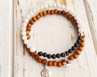Inner Strength & Grounding Set, Moonstone and Black Tourmaline Bracelet Set, Tourmaline, Moonstone, Bayong Wood, Stacking Bracelet