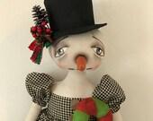 """Christmas Snow Girl 'Carolyn', an OOAK 28"""" tall Primitive Folk Art Snow woman, Snowman Christmas, Holidays FAAP, HAFAIR Cloth Doll"""