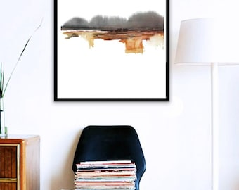 Wall Art Landscape Watercolor Painting Printed Art, Watercolor, Modernist Abstract Painting Wall Decor, Minimalist Art,Brown Black Modernism