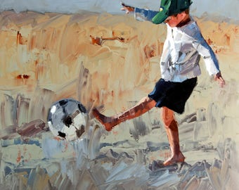 Giclee | art print | from my | impressionist oil | painting | art decor | for a | contemporary | home | 'Beach Soccer' | sport | soccer