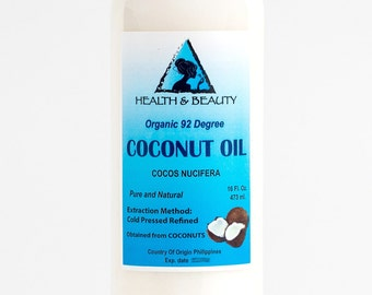16 oz COCONUT OIL 92 DEGREE Organic Carrier Cold Pressed Ultra Refined 100% Pure