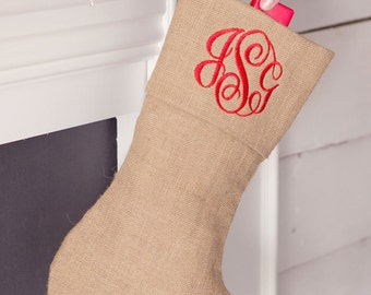 Burlap Christmas Stocking with Free Personalized Embroidery Monogram