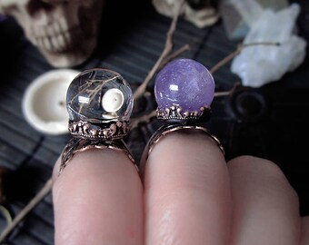 Little Crystal Ball Ring, Quartz Crystal Ring, Amethyst Crystal Ball Ring, Vintage Ring, Fairy Ring, Oracle Ring, Adjustable Ring